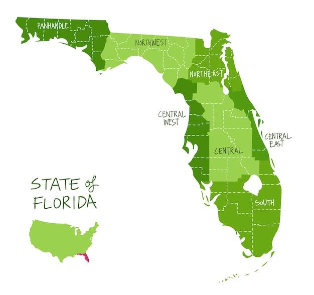Hand gezeichnete karte von florida mit regionen und landkreisen