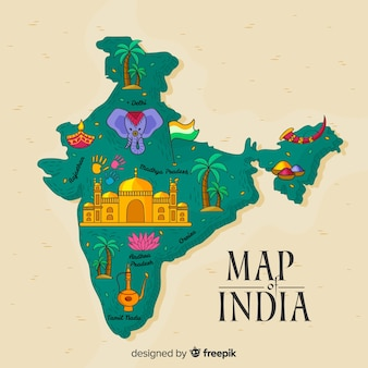 Hand gezeichnete karte von indien