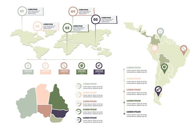 Hand gezeichnete karten infografiken
