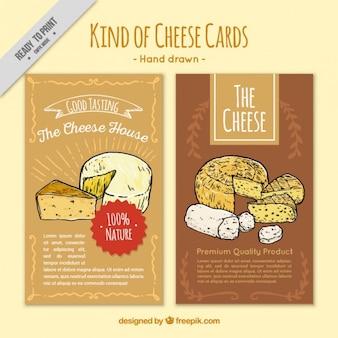 Hand gezeichnete karten von verschiedenen arten von käse
