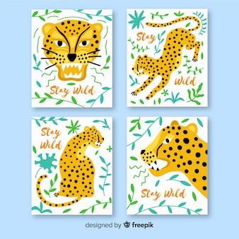 Hand gezeichnete kartensammlung des wilden tieres