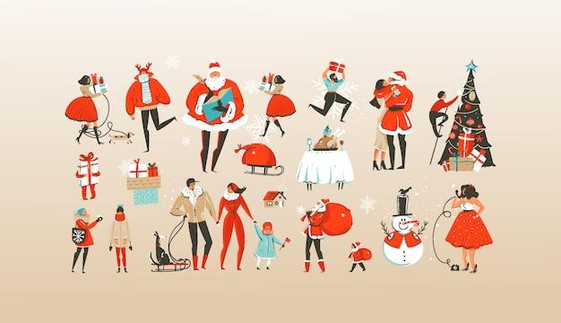 Hand gezeichnete karussell-illustrationsgrußsammlung der frohen weihnachten und des guten rutsch ins neue jahr gesetzt mit den feiernden personencharakteren
