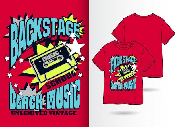 Hand gezeichnete kassettenillustration mit t-shirt design