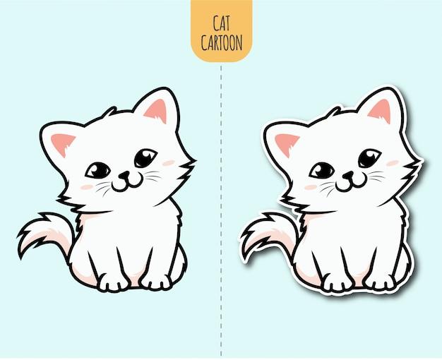 Hand gezeichnete katzenkarikaturillustration mit aufkleberentwurfsoption
