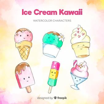 Hand gezeichnete kawaii eiscreme-charaktere eingestellt
