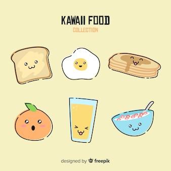 Hand gezeichnete kawaii frühstückslebensmittelsammlung