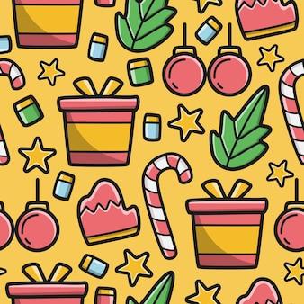 Hand gezeichnete kawaii gekritzelkarikaturweihnachtsmusterentwurfsillustration