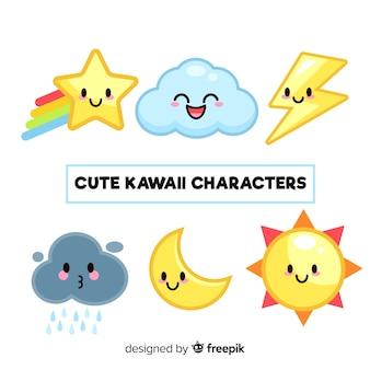 Hand gezeichnete kawaii himmelcharaktersammlung
