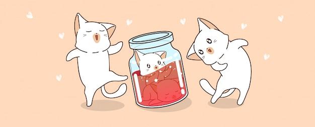 Hand gezeichnete kawaii katzencharaktere schauen babykatzen, die innerhalb der flasche