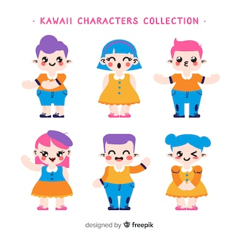 Hand gezeichnete kawaii lächelnde charaktersammlung