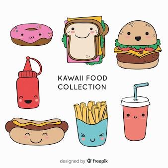 Hand gezeichnete kawaii lebensmittelsammlung