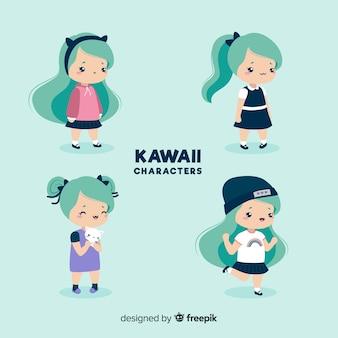 Hand gezeichnete kawaii mädchensammlung