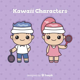 Hand gezeichnete kawaii tennisspielersammlung