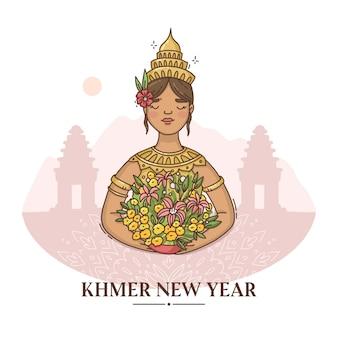 Hand gezeichnete khmer neujahrsillustration