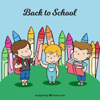 Hand gezeichnete kinder bereit, zurück zur schule zu gehen