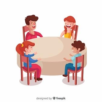 Hand gezeichnete kinder, die um tabellenillustration sitzen