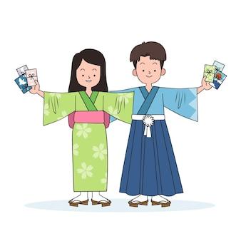 Hand gezeichnete kinder mit oshidama-umschlägen