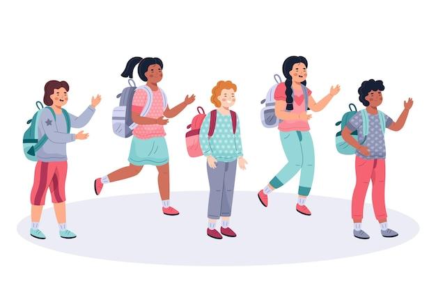 Hand gezeichnete kinder zurück zur schule