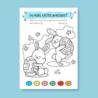 Hand gezeichnete kindliche färbung durch zahlen ostern arbeitsblattvorlage