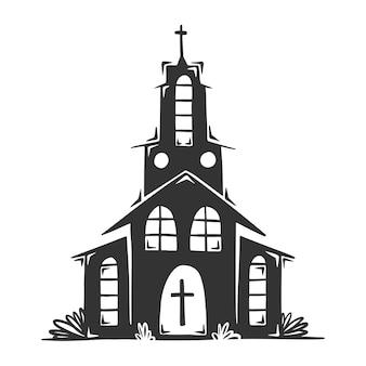 Hand gezeichnete kirche mit kreuz