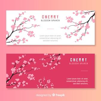 Hand gezeichnete kirschblütenfahne