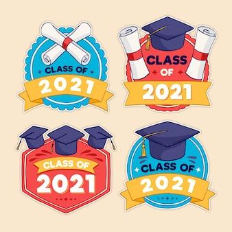Hand gezeichnete klasse von 2021 beschriftungsetiketten sammlung