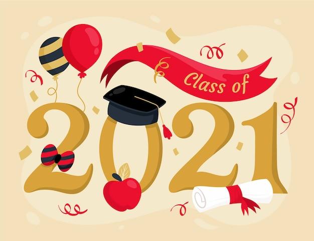 Hand gezeichnete klasse von 2021 illustration