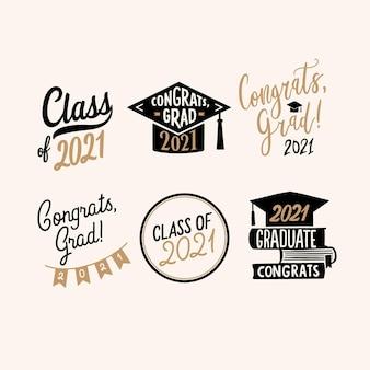 Hand gezeichnete klasse von 2021 schriftzugabzeichensammlung