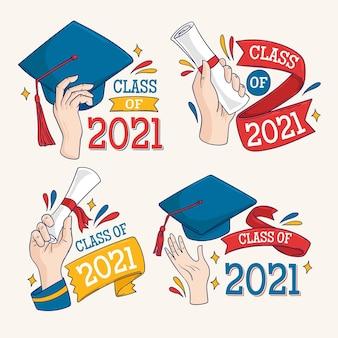 Hand gezeichnete klasse von 2021 schriftzugetiketten sammlung