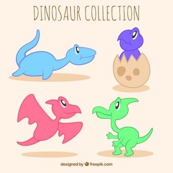 Hand gezeichnete kleine dinosaurier gesetzt