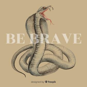Hand gezeichnete kobra mit worthintergrund