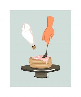 Hand gezeichnete kochzeit-spaßillustrationsikone mit frauenhänden, die einen kuchen lokalisiert auf weißem hintergrund machen.