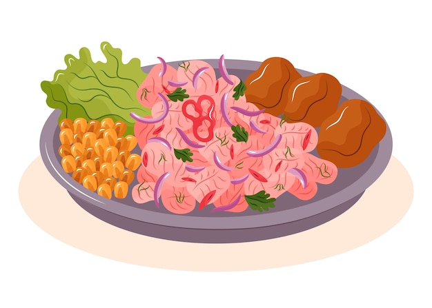 Hand gezeichnete köstliche ceviche auf teller