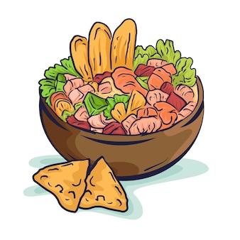 Hand gezeichnete köstliche ceviche-illustration