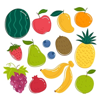 Hand gezeichnete köstliche fruchtsammlung