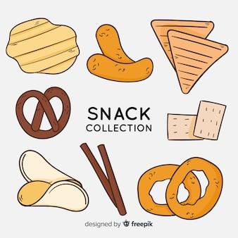 Hand gezeichnete köstliche snack-sammlung