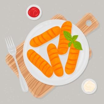 Hand gezeichnete köstliche tequeños mit soße