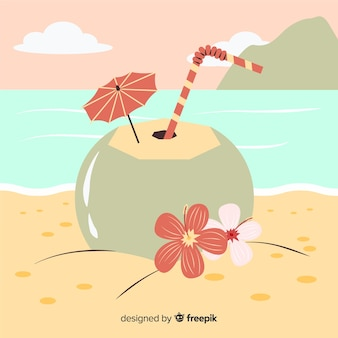 Hand gezeichnete kokosnuss am strandhintergrund