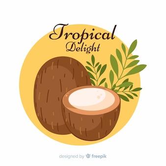 Hand gezeichnete kokosnuss mit blatthintergrund