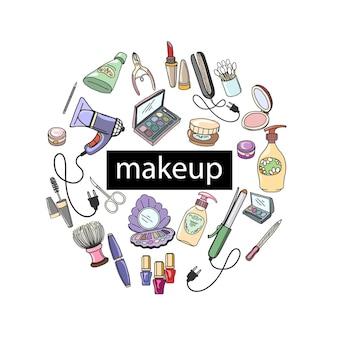 Hand gezeichnete kosmetikrunde mit make-up-produktillustration