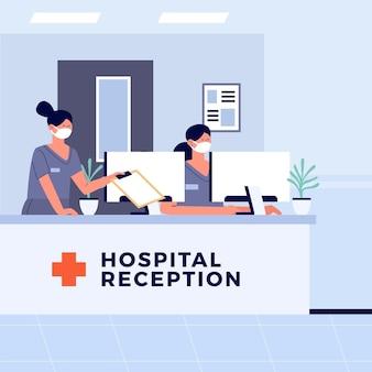 Hand gezeichnete krankenhausempfangsszene mit personen, die gesichtsmasken tragen