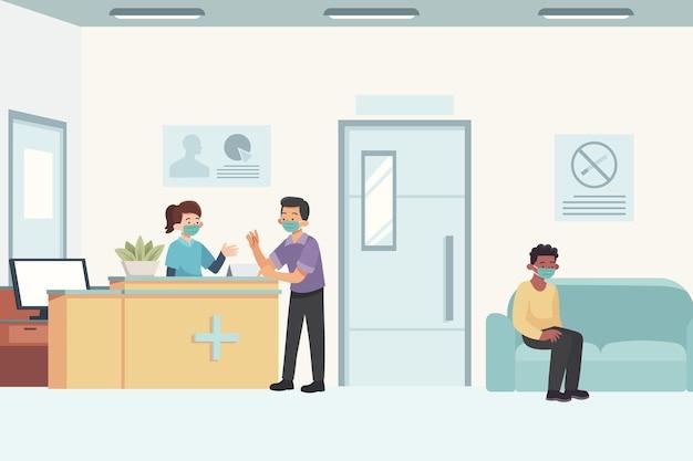 Hand gezeichnete krankenhausempfangsszene