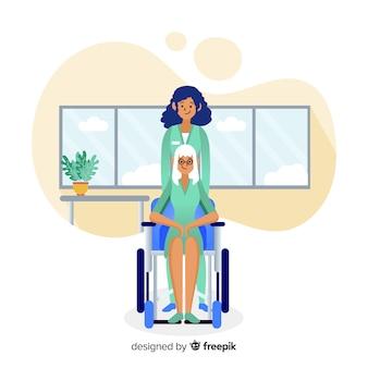 Hand gezeichnete krankenschwester, die geduldigem hintergrund hilft