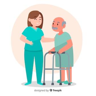 Hand gezeichnete krankenschwester, die geduldigen hintergrund hilft