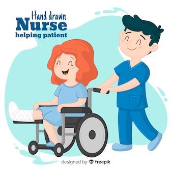 Hand gezeichnete krankenschwester, die patienten hilft