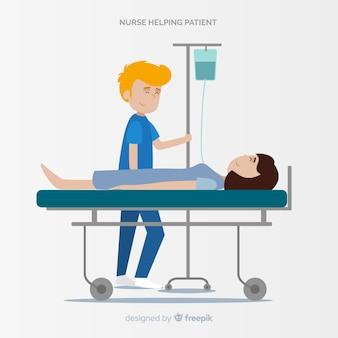 Hand gezeichnete krankenschwester, die um patienten sich kümmert