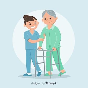 Hand gezeichnete krankenschwester mit patienten
