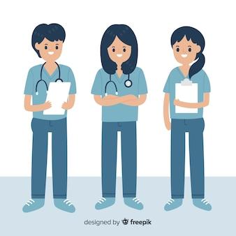 Hand gezeichnete krankenschwesterteamsammlung