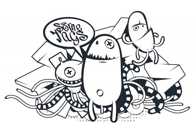 Hand gezeichnete kreaturen im graffiti-stil