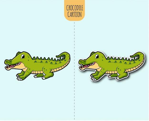 Hand gezeichnete krokodilkarikaturillustration mit aufkleberentwurfsoption